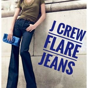 J Crew Dark Blue Rinse Flare Jeans Women's Size 2